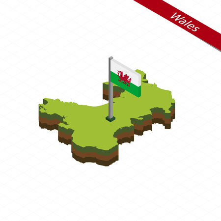 Isometric map and flag of Wales. 3D isometric shape of Wales. Vector Illustration.