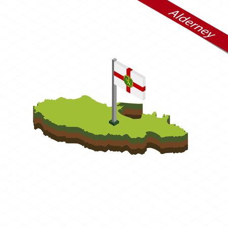 Isometric map and flag of Alderney. 3D isometric shape of Alderney. Vector Illustration.
