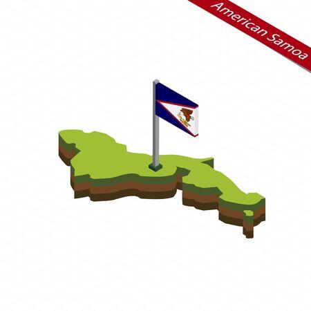 Isometric map and flag of American Samoa. 3D isometric shape of American Samoa. Vector Illustration. Illustration