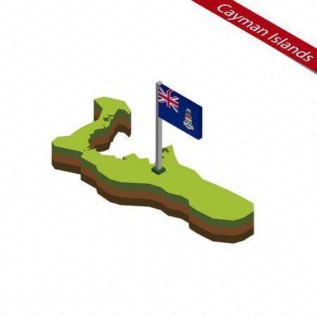 Isometric map and flag of Cayman Islands. 3D isometric shape of Cayman Islands. Vector Illustration.