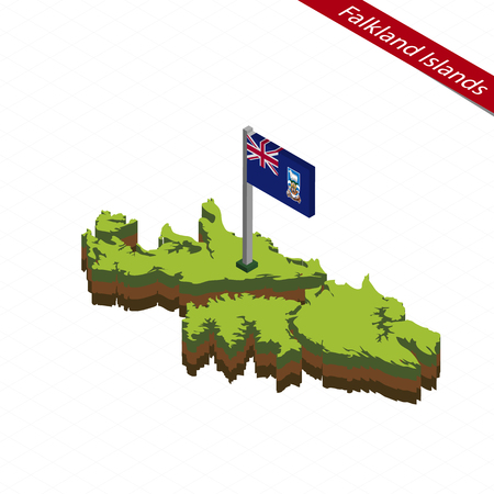 Isometric map and flag of Falkland Islands. 3D isometric shape of Falkland Islands. Vector Illustration.