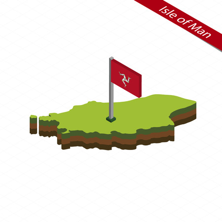 Isometric map and flag of Isle of Man. 3D isometric shape of Isle of Man. Vector Illustration.