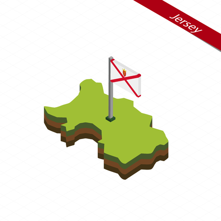 Isometric map and flag of Jersey. 3D isometric shape of Jersey. Vector Illustration.