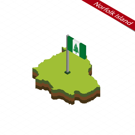 Isometric map and flag of Norfolk Island. 3D isometric shape of Norfolk Island. Vector Illustration.