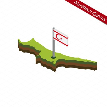 Isometric map and flag of Northern Cyprus. 3D isometric shape of Northern Cyprus. Vector Illustration.