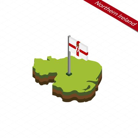 ulster: Isometric map and flag of Northern Ireland. 3D isometric shape of Northern Ireland. Vector Illustration.
