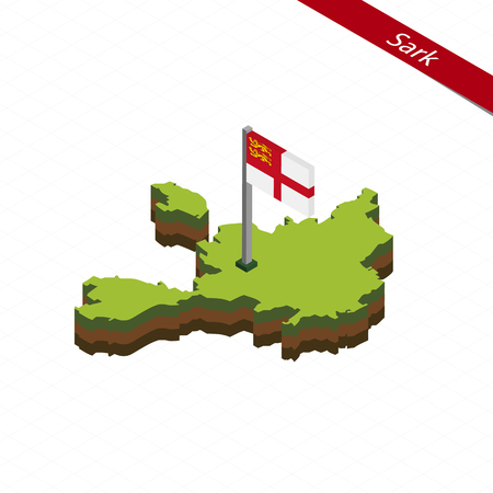 Isometric map and flag of Sark. 3D isometric shape of Sark. Vector Illustration.