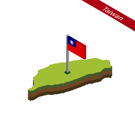 Isometric map and flag of Taiwan. 3D isometric shape of Taiwan. Vector Illustration.