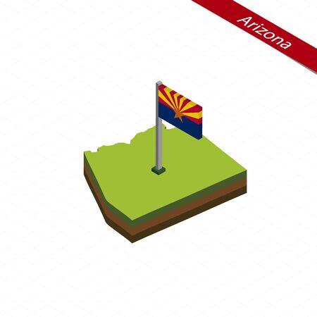 Isometric map and flag of Arizona. 3D isometric shape of Arizona State. Vector Illustration. Illustration
