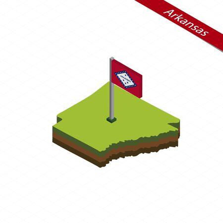 Isometric map and flag of Arkansas. 3D isometric shape of Arkansas State. Vector Illustration.