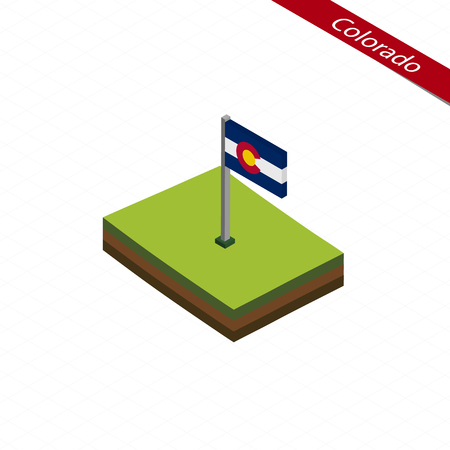 Isometric map and flag of Colorado. 3D isometric shape of Colorado State. Vector Illustration.