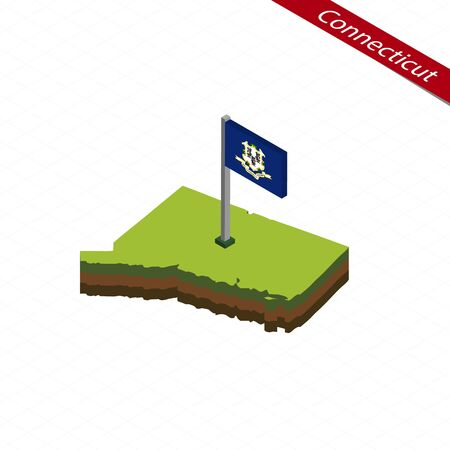 Isometric map and flag of Connecticut, 3D isometric shape of Connecticut State; Vector Illustration.
