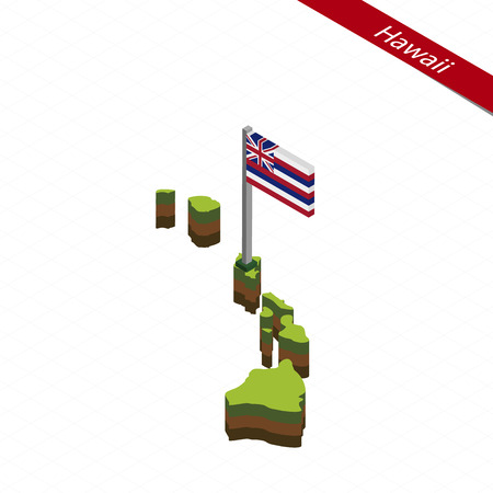 Isometric map and flag of Hawaii. 3D isometric shape of Hawaii State. Vector Illustration. Ilustração