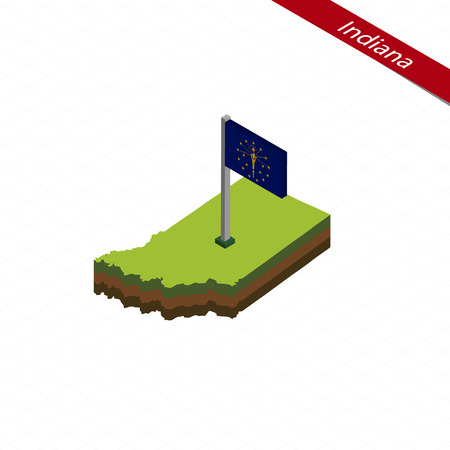 Isometric map and flag of Indiana. 3D isometric shape of Indiana State. Vector Illustration.