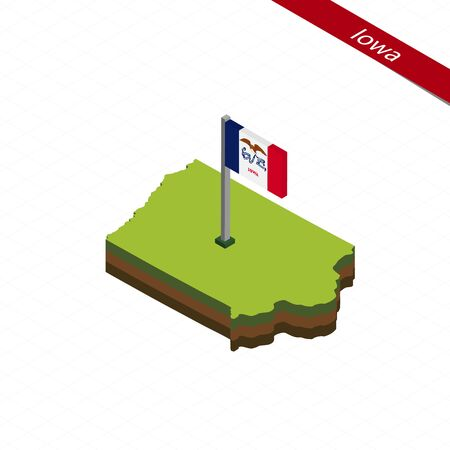 Isometric map and flag of Iowa. 3D isometric shape of Iowa State. Vector Illustration. Illustration