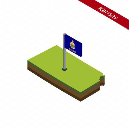 Isometric map and flag of Kansas. 3D isometric shape of Kansas State. Vector Illustration.