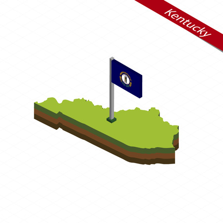 Isometric map and flag of Kentucky, 3D isometric shape of Alabama State. Vector Illustration. Illustration