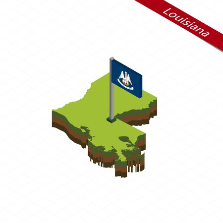 rouge: Isometric map and flag of Louisiana. 3D isometric shape of Louisiana State. Vector Illustration. Illustration