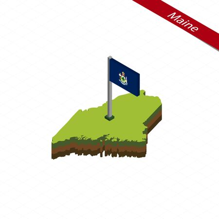 Isometric map and flag of Maine. 3D isometric shape of Maine State. Vector Illustration.