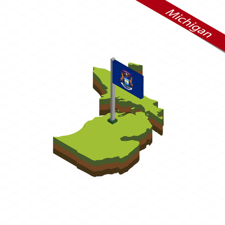 territories: Isometric map and flag of Michigan. 3D isometric shape of Michigan State. Vector Illustration. Illustration