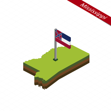 Isometric map and flag of Mississippi. 3D isometric shape of Mississippi State. Vector Illustration.