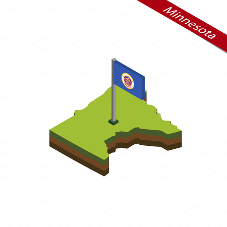 Isometric map and flag of Minnesota. 3D isometric shape of Minnesota State. Vector Illustration. Vettoriali