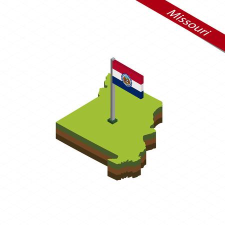jefferson: Isometric map and flag of Missouri. 3D isometric shape of Missouri State. Vector Illustration.