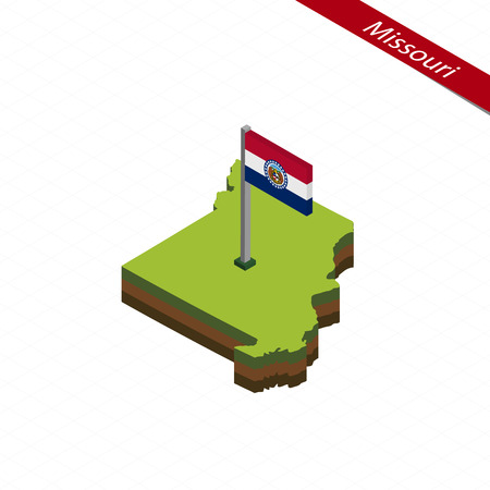 Isometric map and flag of Missouri. 3D isometric shape of Missouri State. Vector Illustration.