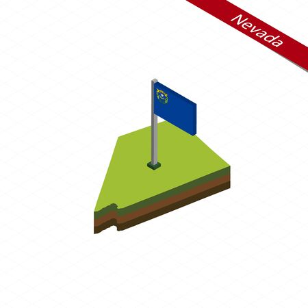 territories: Isometric map and flag of Nevada. 3D isometric shape of Nevada State. Vector Illustration. Illustration