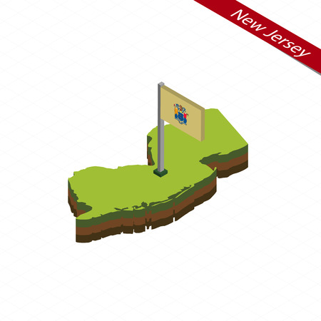 Isometric map and flag of New Jersey. 3D isometric shape of New Jersey State. Vector Illustration.
