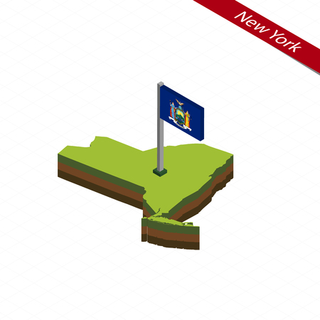 albany: Isometric map and flag of New York. 3D isometric shape of New York State. Vector Illustration.