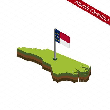 Isometric map and flag of North Carolina. 3D isometric shape of North Carolina State. Vector Illustration. Ilustração