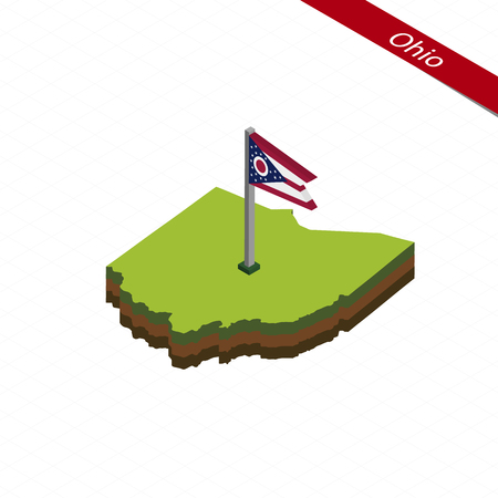 Isometric map and flag of Ohio. 3D isometric shape of Ohio State. Vector Illustration.