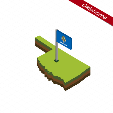 Isometric map and flag of Oklahoma. 3D isometric shape of Oklahoma State. Vector Illustration.