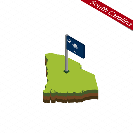 Isometric map and flag of South Carolina. 3D isometric shape of South Carolina State. Vector Illustration.