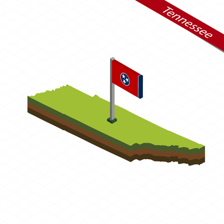 Isometric map and flag of Tennessee. 3D isometric shape of Tennessee State. Vector Illustration. Illustration
