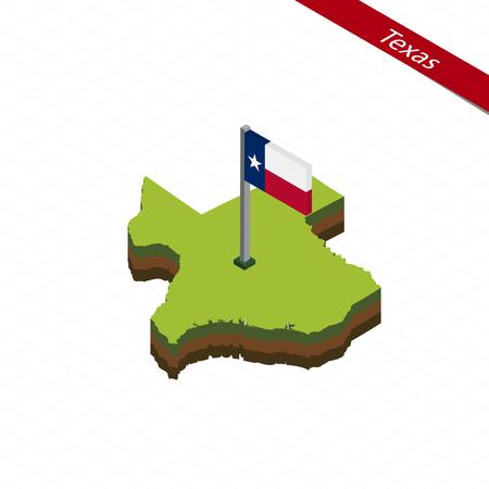 Mapa isométrico y bandera de Texas. Forma isométrica 3D del estado de Texas. Ilustración vectorial