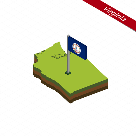 Isometric map and flag of Virginia. 3D isometric shape of Virginia State. Vector Illustration.