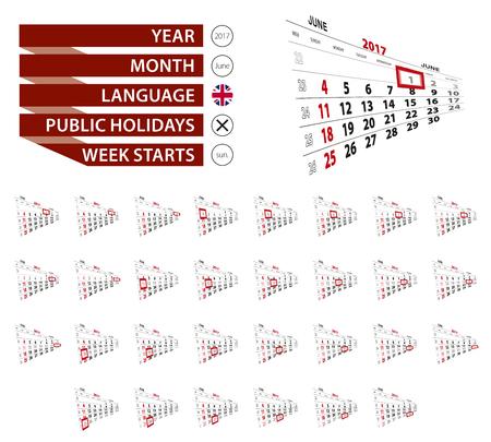 2017 年 6 月のカレンダー、毎日を強調表示されます。週は日曜日から開始します。ベクトルの図。