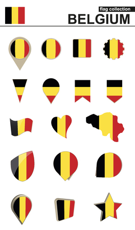 Belgium Flag Collection. Big set for design. Vector Illustration. Illustration