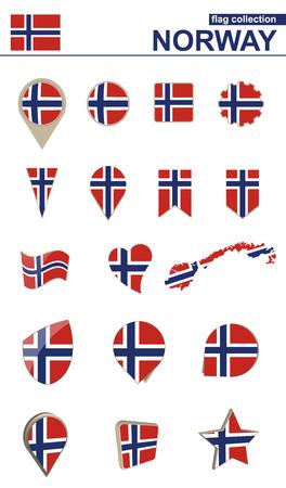Norway Flag Collection. Big set for design. Vector Illustration. Illustration