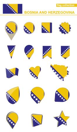 geographical: Bosnia and Herzegovina Flag Collection. Big set for design. Vector Illustration.