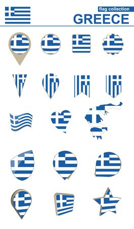 Greece Flag Collection. Big set for design. Vector Illustration.