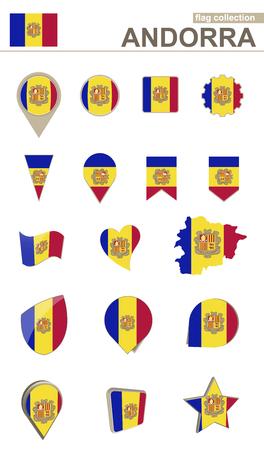 Andorra Flag Collection. Big set for design. Vector Illustration.