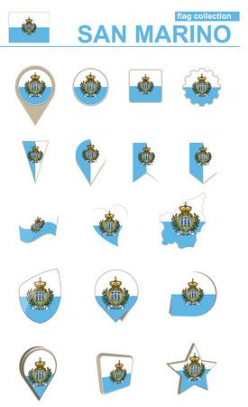 geographical: San Marino Flag Collection. Big set for design. Vector Illustration. Illustration