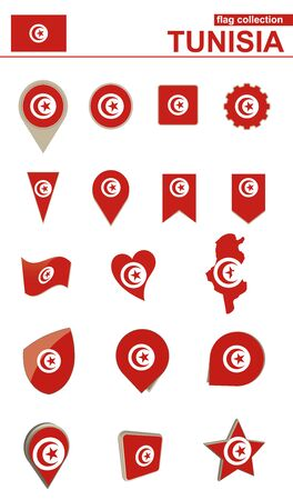 geographical: Tunisia Flag Collection. Big set for design. Vector Illustration.