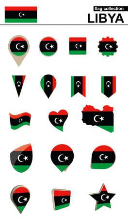 geographical: Libya Flag Collection. Big set for design. Vector Illustration. Illustration