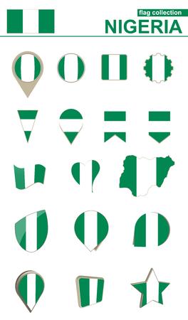 geographical: Nigeria Flag Collection. Big set for design. Vector Illustration.