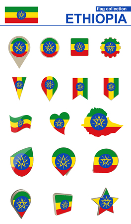 Ethiopia Flag Collection. Big set for design. Vector Illustration. Illustration