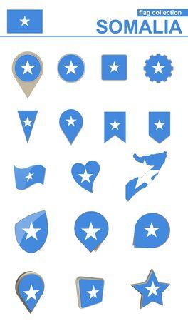 Somalia Flag Collection. Big set for design. Vector Illustration.